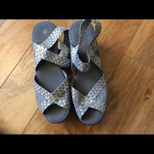 Silver stretch Sandals, platform, wedges,shoes